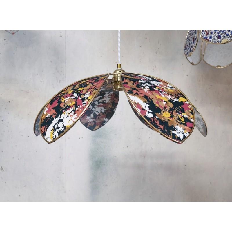 Suspension lampe fleur 6 pétales couleurs d'Automne