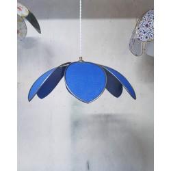 Suspension lampe fleur 6 pétales tissu 100% Lin Bleu Electrique