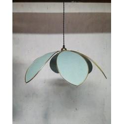 Suspension lampe fleur 6 pétales tissu 100% Lin Vert Céladon